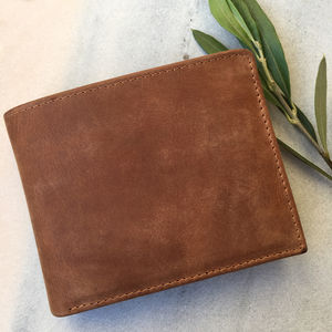 Tan Vintage Leather Wallet With Rfid Protection