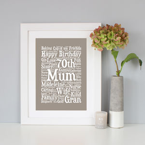Personalised 70th Birthday Word Art Gift - for her