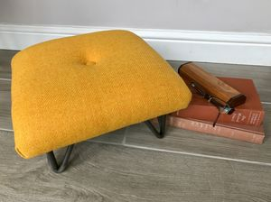 Retro Style British Wool Footstool On Hairpin Legs