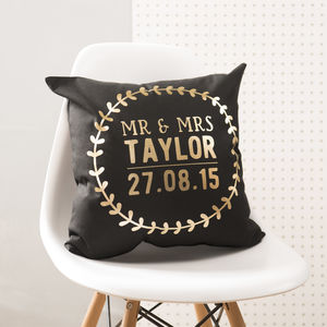 Personalised Black And Gold Wedding Details Cushion - best wedding gifts