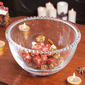 Glass Bowl With Beaded Edges - fruit bowls