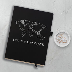 Personalised World Map And Coordinates Notebook