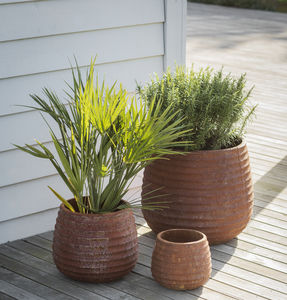 Set Of Three Terracotta Planters