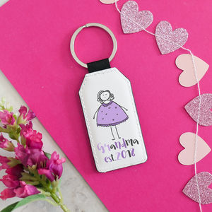 Personalised Grandmother Faux Leather Keyring