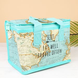 Personalised World Map Print Lunch Bag