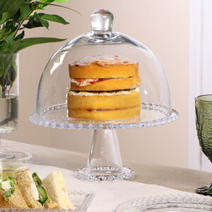 Bella Perle Glass Cake Stand With Dome Lid