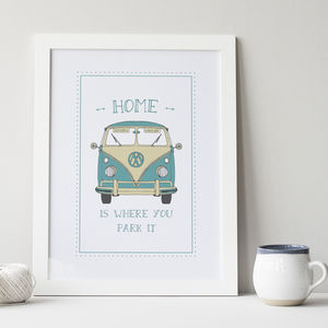 Wedding Gift Quirky : Home Is Where You Park It Camper Van Print