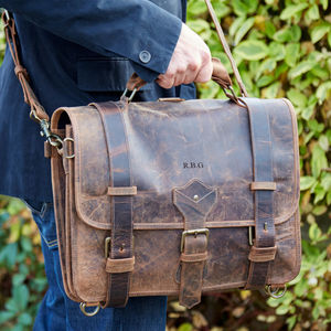 Personalised Buffalo Leather Large Executive Briefcase