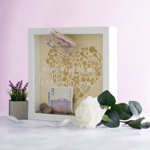 Personalised Wedding Fund Money Box Frame - engagement gifts