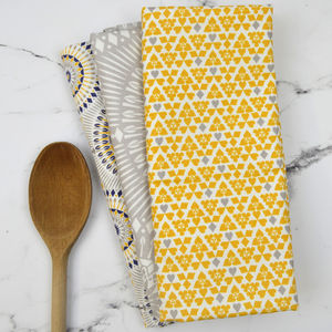 Set Of Three Dime Range Tea Towels