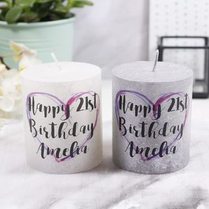 Personalised Birthday Metallic Candle - 18th birthday gifts