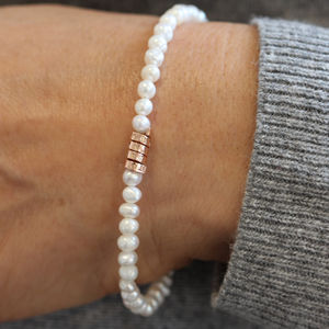 Personalised Rose Gold Pearl Bracelet