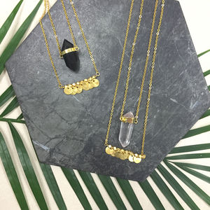 Double Row Gold Boho Crystal Necklace