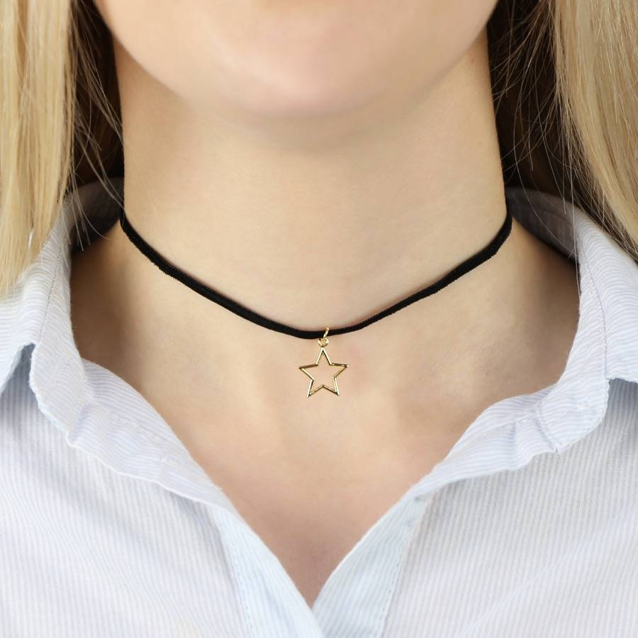 Black Velvet And Gold Star Choker