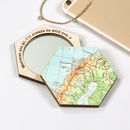 Personalised Map Hexagon Compact Pocket Mirror