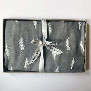 Embossed Grey Feather Scarf
