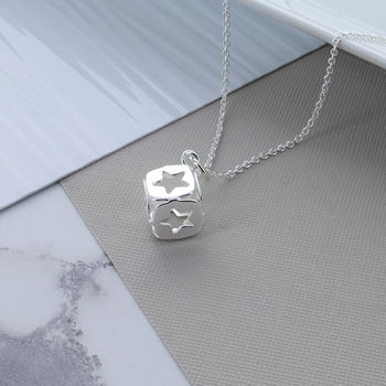 Silver Star Cube Necklace