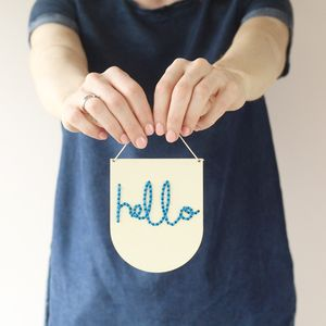 Laser Cut Mini Wooden Banner Embroidery Kit 'Hello'