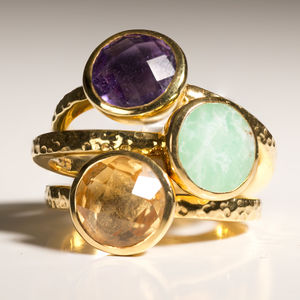 Gold Gemstone Stacking Ring - rings