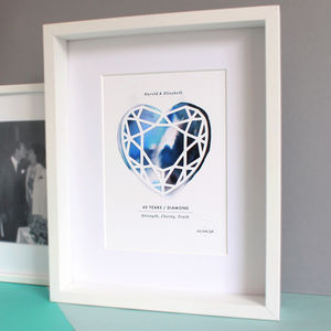 Diamond 60 Year Anniversary Personalised Papercut Print - 100 best gifts