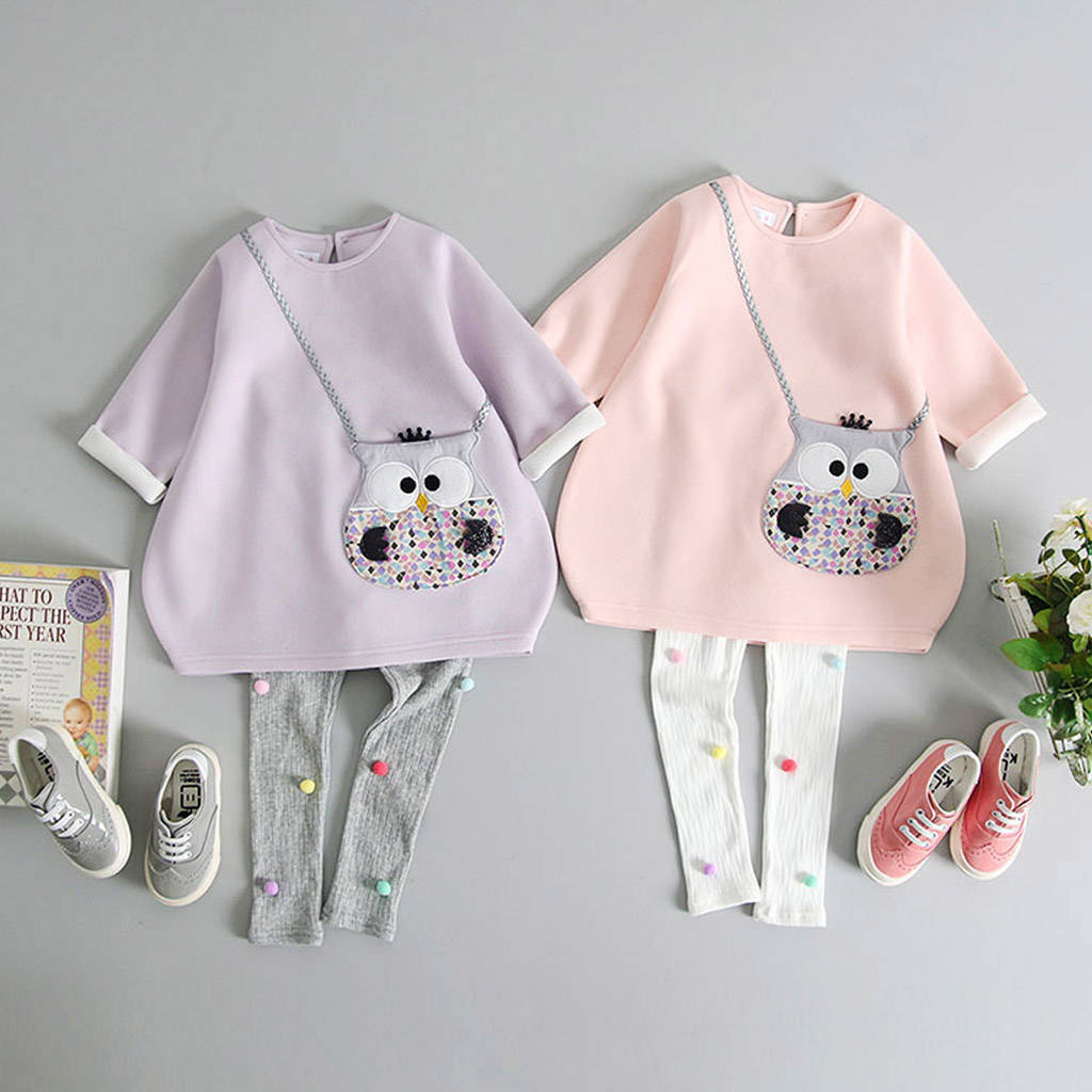 Owl Handbag Pocket Tunic And Pom Pom Leggings Set