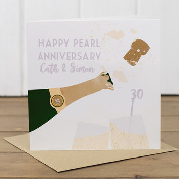Personalised 30th Pearl Anniversary Card