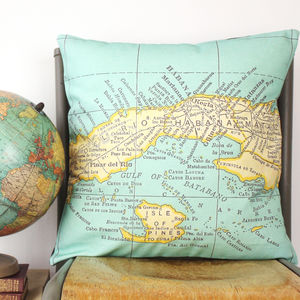 Personalised World Destination Map Cushion - gifts for him