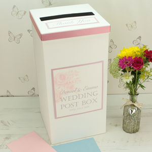 Personalised Vintage Rose Wedding Post Box - weddings sale
