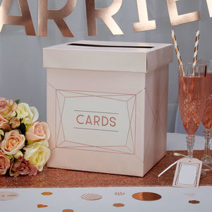 Blush Rose Gold Wedding Card Box