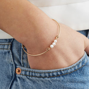 Gold Or Silver Pearl Cluster Bangle Bracelet - jewellery