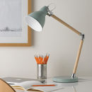 Pastel Wooden Desk Lamp Blue Or Cream