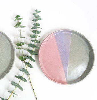 Handmade Pink And Grey Ceramic Side Plate