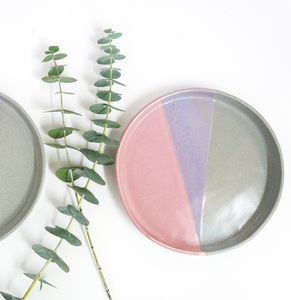 Handmade Pink And Grey Ceramic Side Plate - dining room