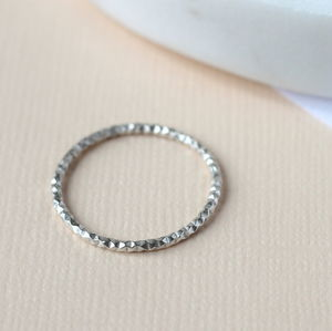 Diamond Cut Stacking Ring Sterling Silver