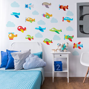 Plane And Clouds Wall Stickers - decorative accessories