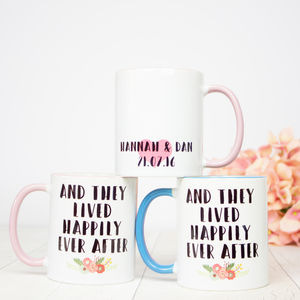 Personalised 'Happily Ever After' Wedding Mug Gift Set - dining room