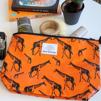 Giraffe Parade Orange Wash Bag