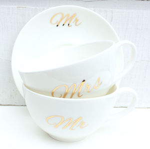 Mr And Mrs Fine Bone China Tea Cups - dining room