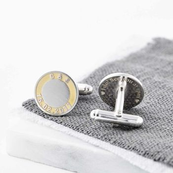Sterling Silver And Gold Initials And Date Cufflinks