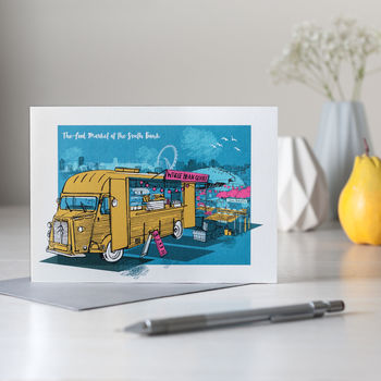 South Bank Food Market London Greetings Card