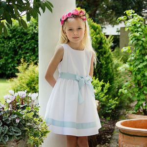Charlotte White And Pale Blue Piquet Dress