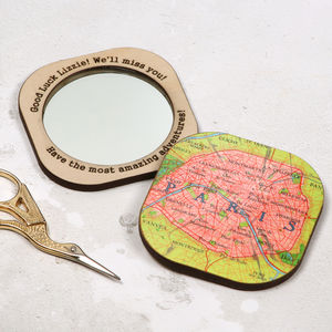 Personalised Square Map Location Compact Mirror For Her - gifts for her