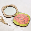Personalised Square Map Location Compact Mirror For Her