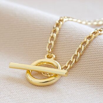 T Bar And Toggle Necklace In Gold