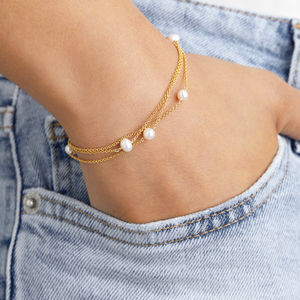 Rose, Silver Or Gold Layered Pearl Bracelet