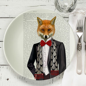 Fox In Evening Suit Bone China Plate
