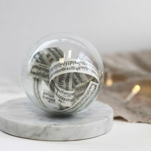 Glass Bauble With Music Sheet Scroll - tree decorations