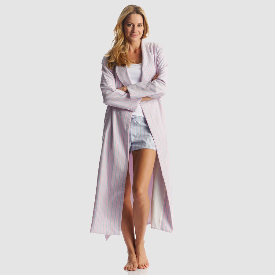 womens brushed cotton dressing gown by pj pan. Black Bedroom Furniture Sets. Home Design Ideas