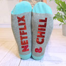 Personalised Netflix And Chill 'Feet Up' Socks