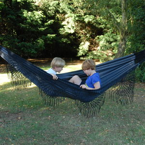 Artesano Ebony Double Hammock With Tassels - garden furniture